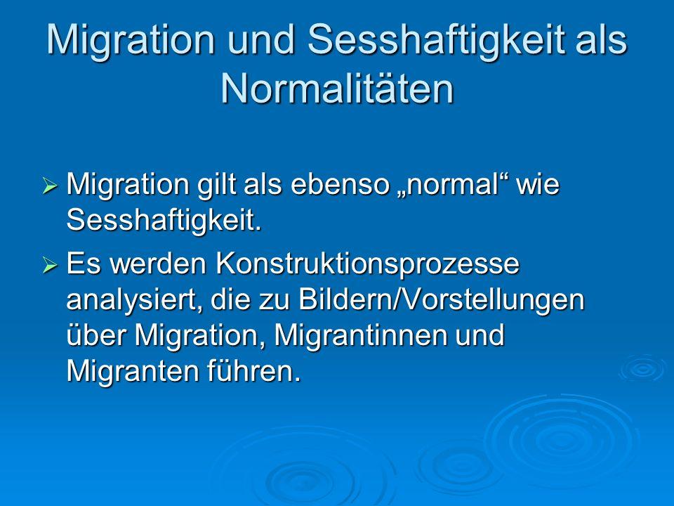 Migration und Sesshaftigkeit als Normalitäten Migration gilt als ebenso normal wie Sesshaftigkeit. Migration gilt als ebenso normal wie Sesshaftigkeit