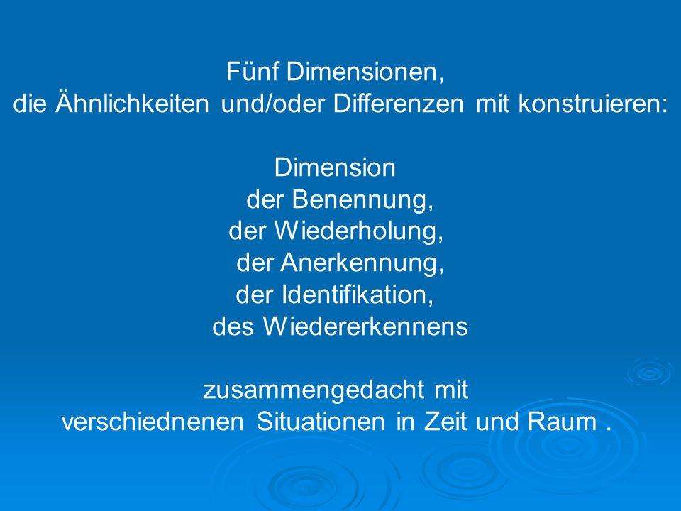 Fünf Dimensionen, die Ähnlichkeiten und/oder Differenzen mit konstruieren: Dimension der Benennung, der Wiederholung, der Anerkennung, der Identifikat