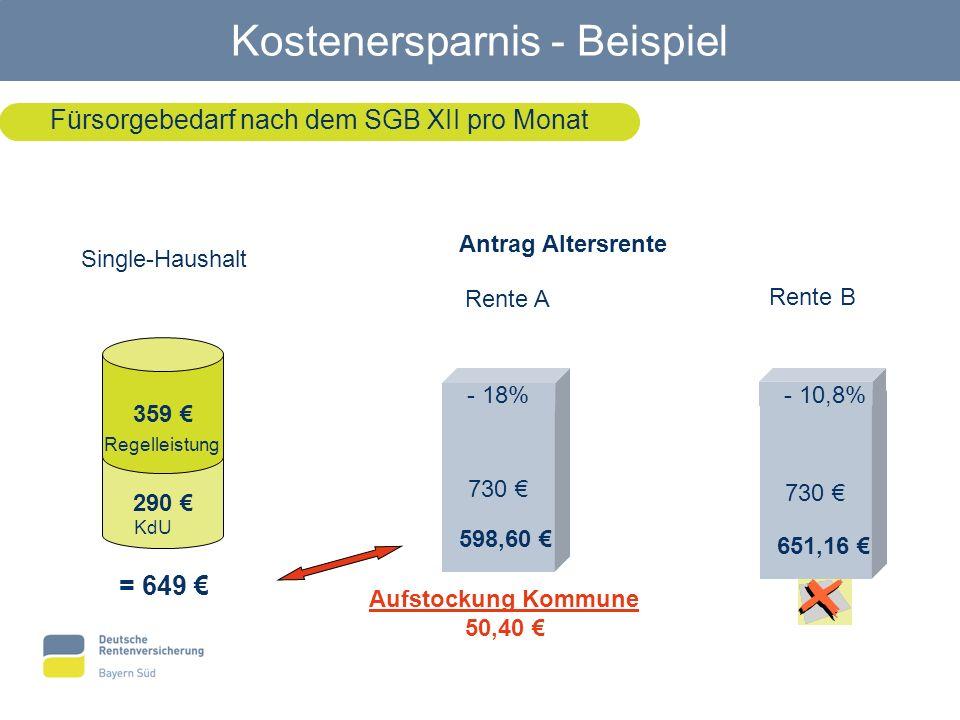 Fürsorgebedarf nach dem SGB XII pro Monat Single-Haushalt 290 359 = 649 Regelleistung KdU Antrag Altersrente Rente A Rente B 730 598,60 - 18%- 10,8% 6