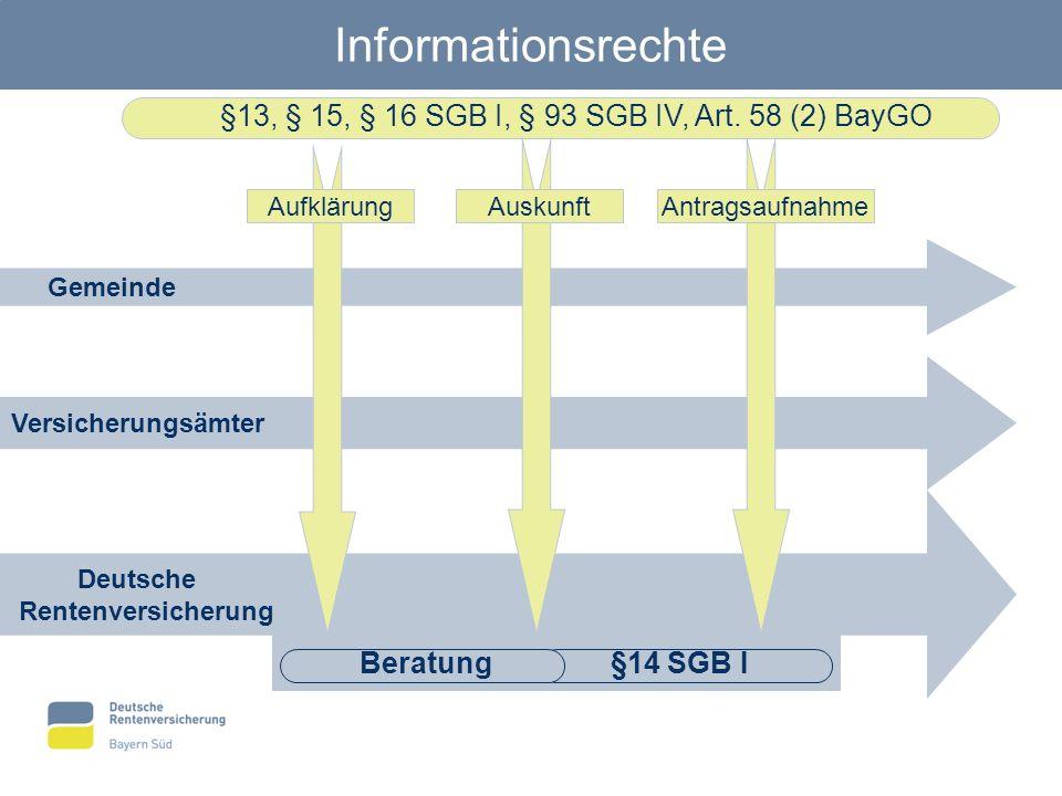 Deutsche Rentenversicherung Informationsrechte Gemeinde Versicherungsämter §13, § 15, § 16 SGB I, § 93 SGB IV, Art. 58 (2) BayGO §14 SGB I AufklärungA