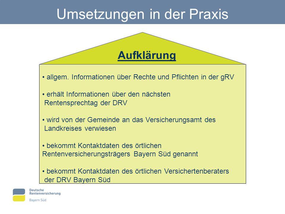 Umsetzungen in der Praxis allgem. Informationen über Rechte und Pflichten in der gRV erhält Informationen über den nächsten Rentensprechtag der DRV wi