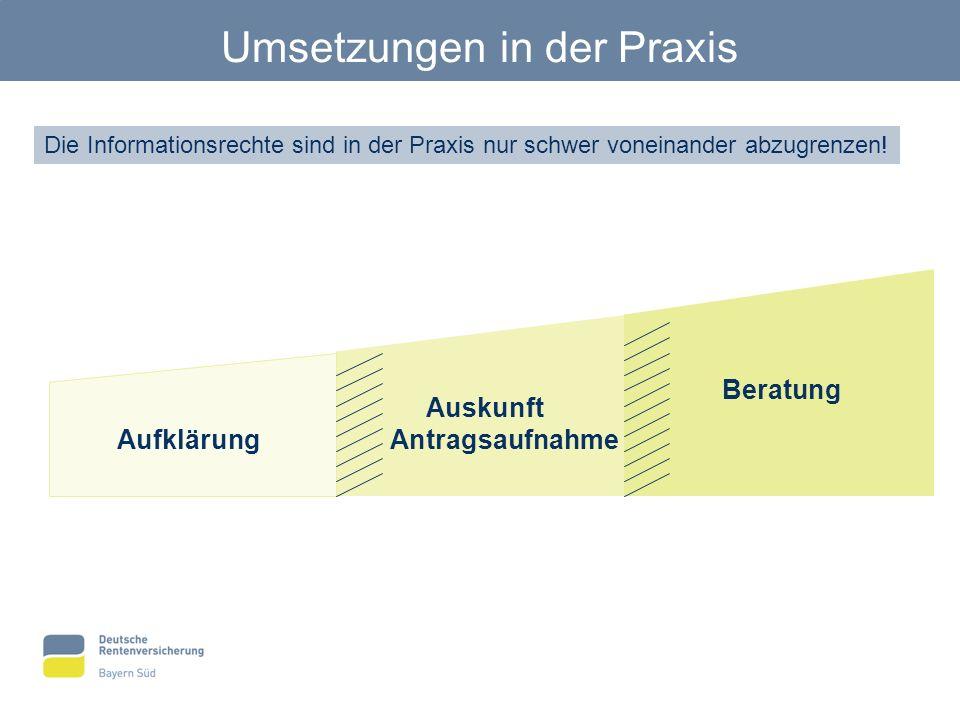 Umsetzungen in der Praxis Die Informationsrechte sind in der Praxis nur schwer voneinander abzugrenzen! Aufklärung Beratung Auskunft Antragsaufnahme