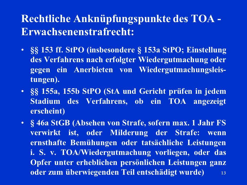13 Rechtliche Anknüpfungspunkte des TOA - Erwachsenenstrafrecht: §§ 153 ff. StPO (insbesondere § 153a StPO; Einstellung des Verfahrens nach erfolgter