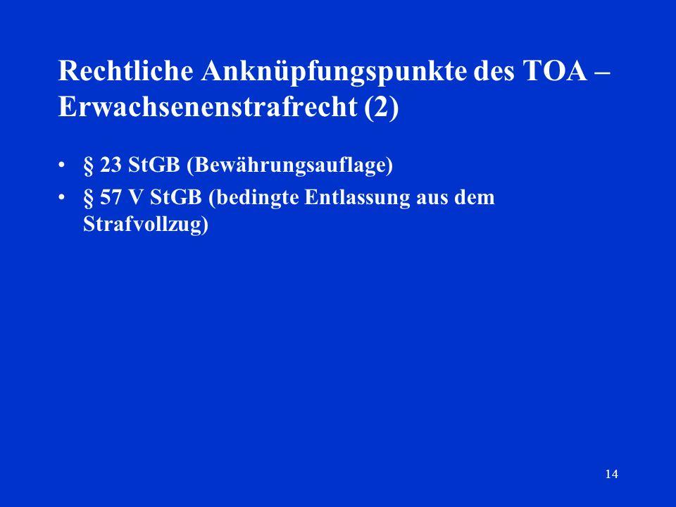 14 Rechtliche Anknüpfungspunkte des TOA – Erwachsenenstrafrecht (2) § 23 StGB (Bewährungsauflage) § 57 V StGB (bedingte Entlassung aus dem Strafvollzu