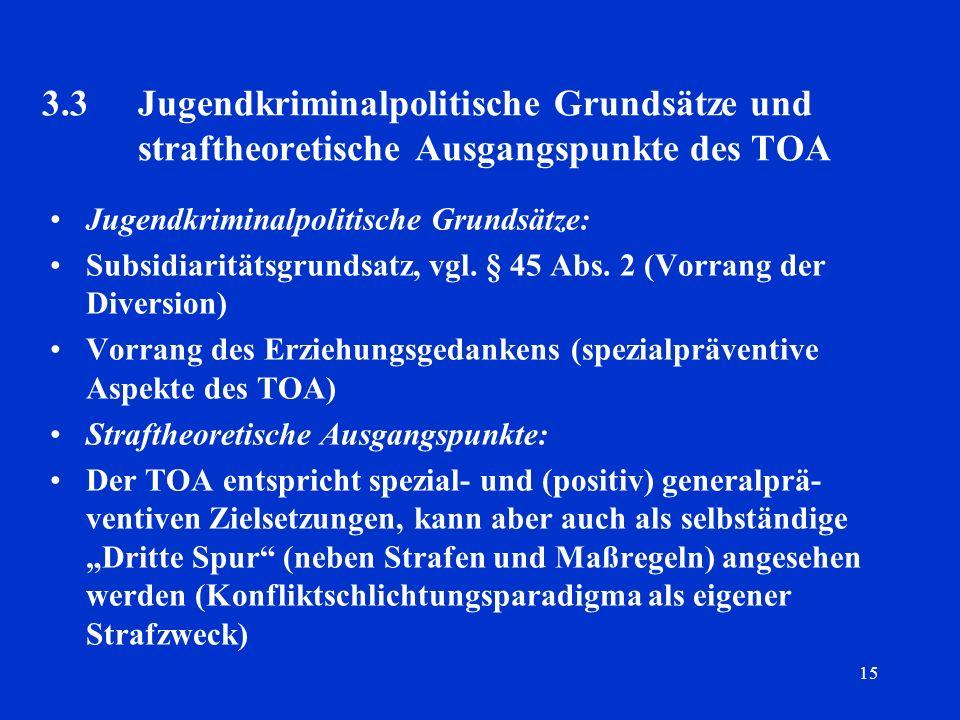 15 3.3Jugendkriminalpolitische Grundsätze und straftheoretische Ausgangspunkte des TOA Jugendkriminalpolitische Grundsätze: Subsidiaritätsgrundsatz, v