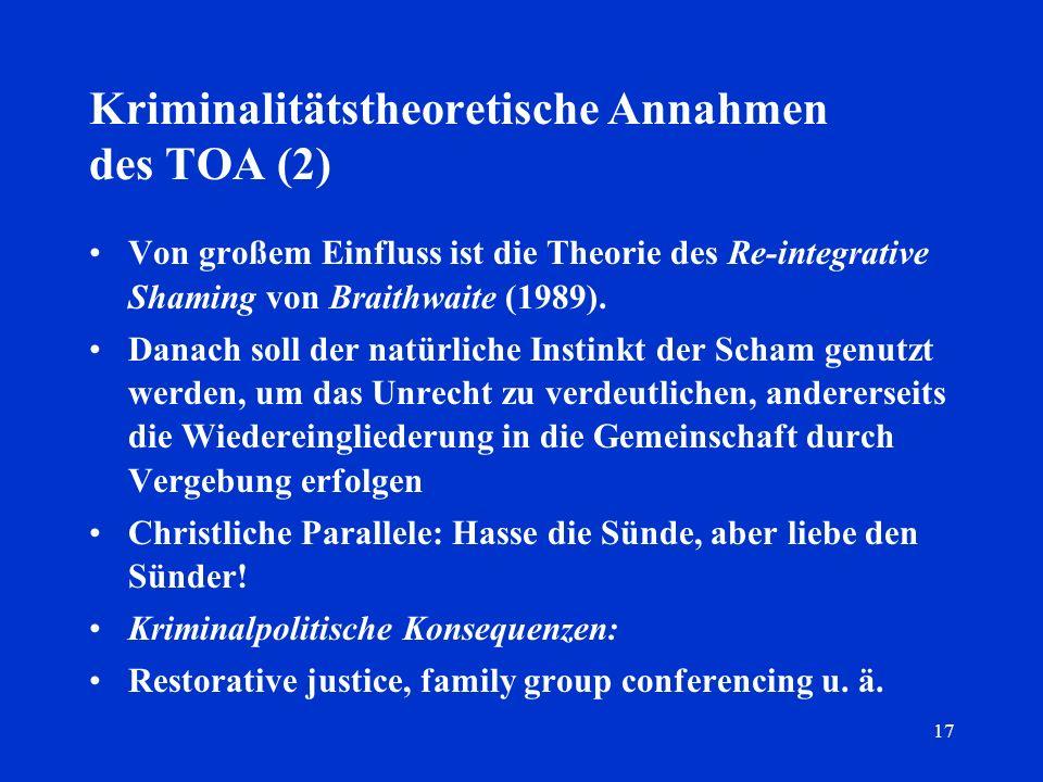 17 Kriminalitätstheoretische Annahmen des TOA (2) Von großem Einfluss ist die Theorie des Re-integrative Shaming von Braithwaite (1989). Danach soll d