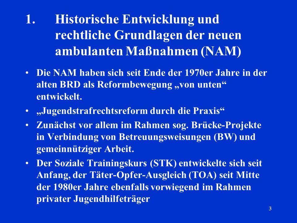 3 1.Historische Entwicklung und rechtliche Grundlagen der neuen ambulanten Maßnahmen (NAM) Die NAM haben sich seit Ende der 1970er Jahre in der alten