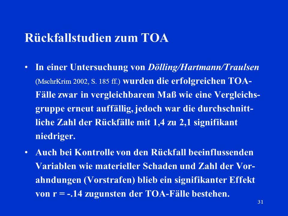 31 Rückfallstudien zum TOA In einer Untersuchung von Dölling/Hartmann/Traulsen (MschrKrim 2002, S. 185 ff.) wurden die erfolgreichen TOA- Fälle zwar i