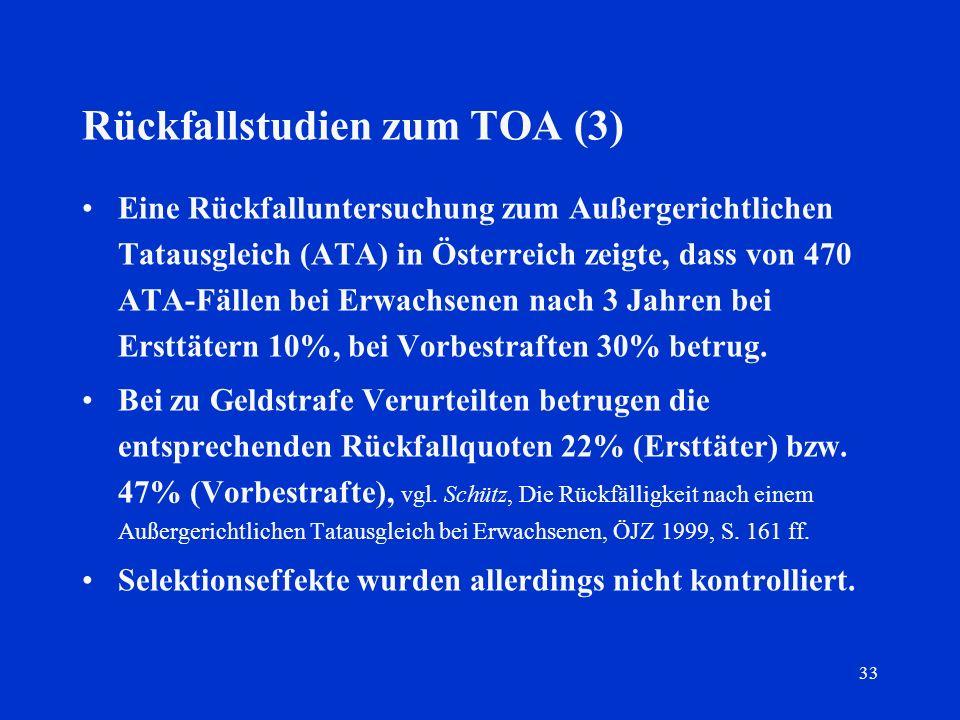 33 Rückfallstudien zum TOA (3) Eine Rückfalluntersuchung zum Außergerichtlichen Tatausgleich (ATA) in Österreich zeigte, dass von 470 ATA-Fällen bei E