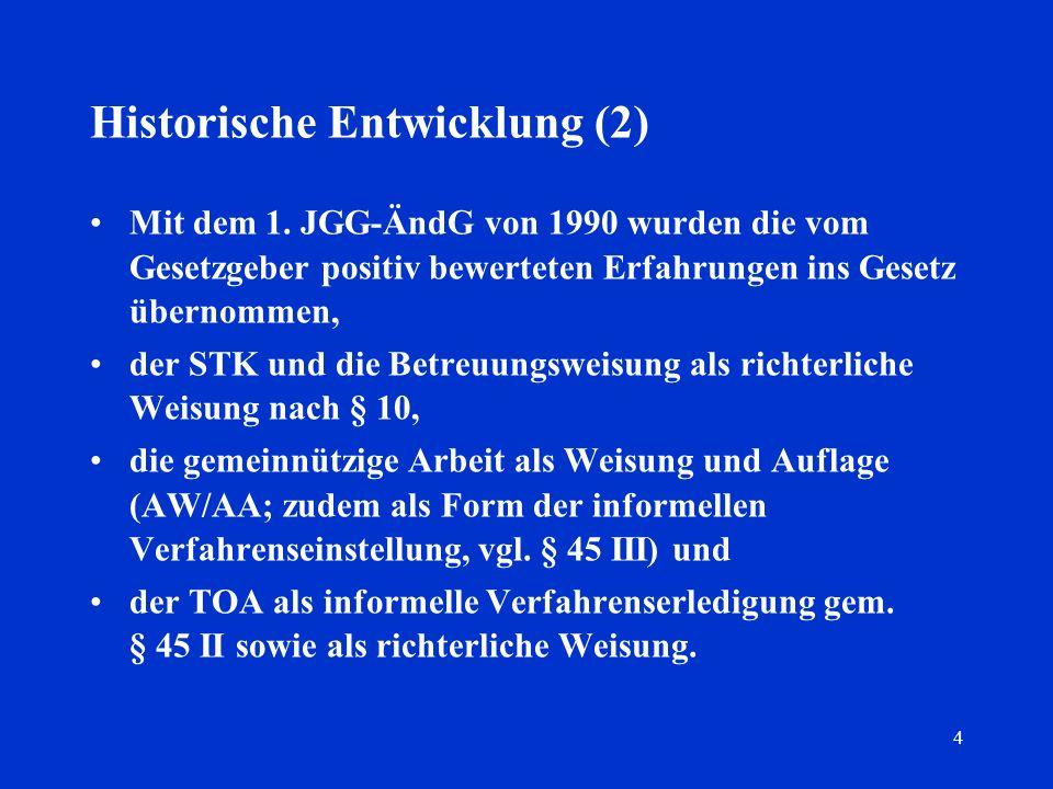 4 Historische Entwicklung (2) Mit dem 1. JGG-ÄndG von 1990 wurden die vom Gesetzgeber positiv bewerteten Erfahrungen ins Gesetz übernommen, der STK un