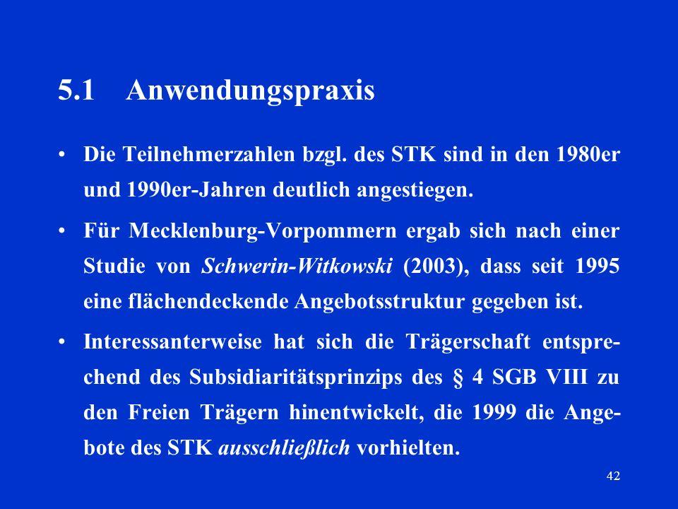 42 5.1Anwendungspraxis Die Teilnehmerzahlen bzgl. des STK sind in den 1980er und 1990er-Jahren deutlich angestiegen. Für Mecklenburg-Vorpommern ergab