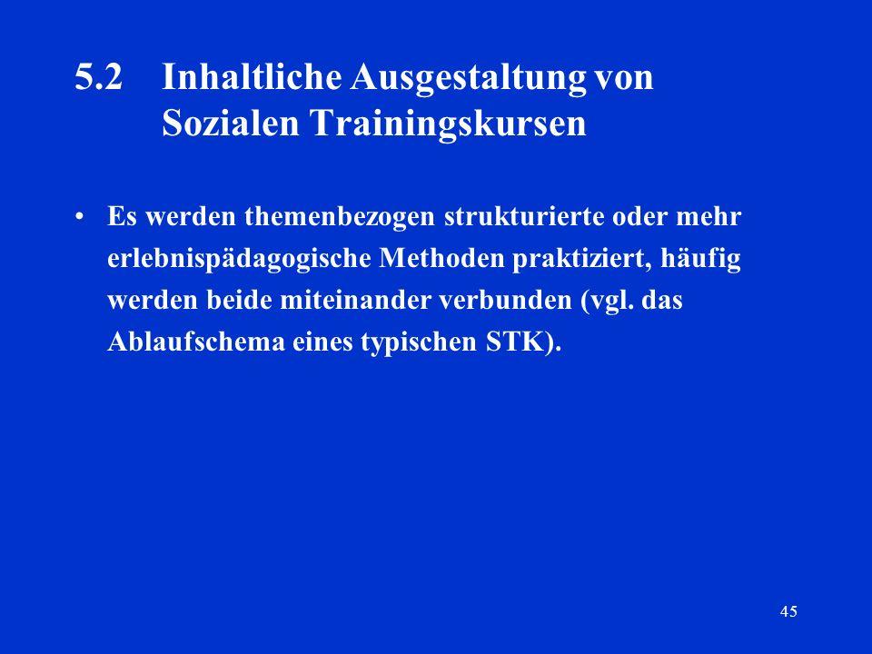 45 5.2 Inhaltliche Ausgestaltung von Sozialen Trainingskursen Es werden themenbezogen strukturierte oder mehr erlebnispädagogische Methoden praktizier