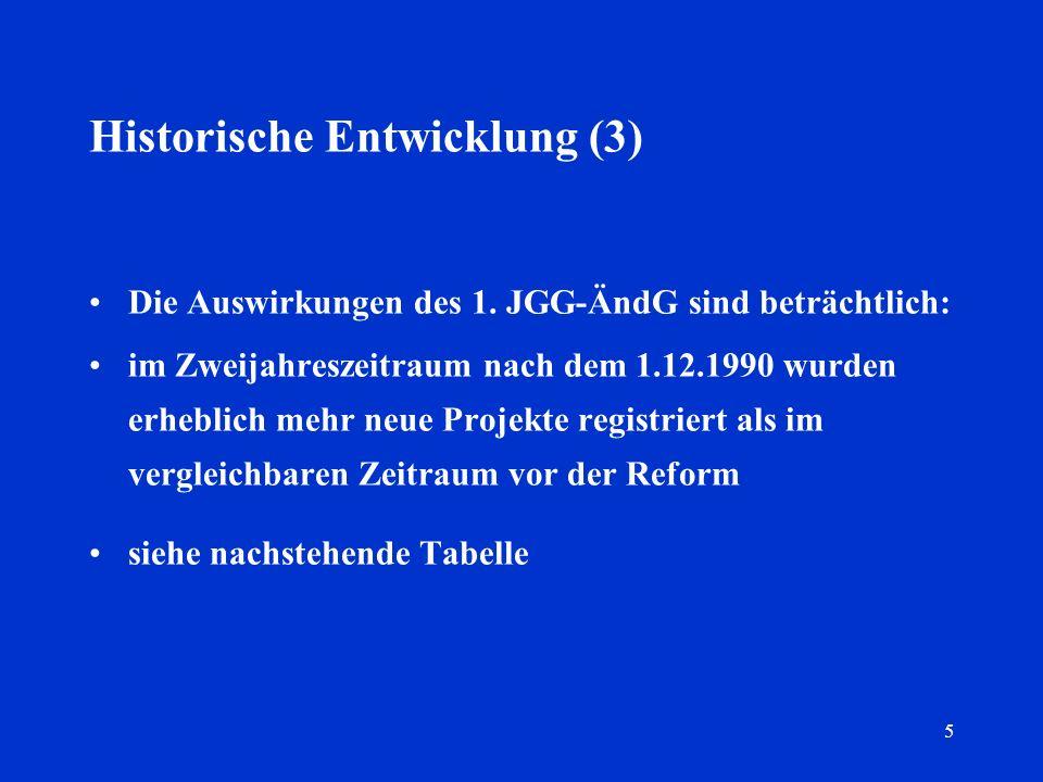5 Historische Entwicklung (3) Die Auswirkungen des 1. JGG-ÄndG sind beträchtlich: im Zweijahreszeitraum nach dem 1.12.1990 wurden erheblich mehr neue