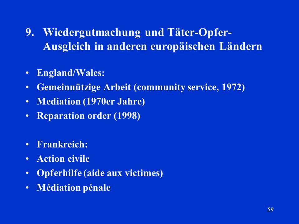 59 9.Wiedergutmachung und Täter-Opfer- Ausgleich in anderen europäischen Ländern England/Wales: Gemeinnützige Arbeit (community service, 1972) Mediati