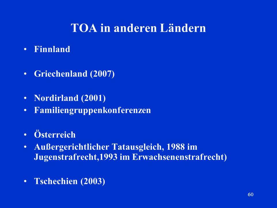 60 TOA in anderen Ländern Finnland Griechenland (2007) Nordirland (2001) Familiengruppenkonferenzen Österreich Außergerichtlicher Tatausgleich, 1988 i