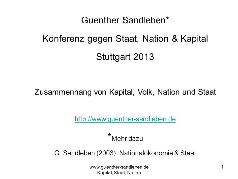 www.guenther-sandleben.de Kapital, Staat, Nation 1 Guenther Sandleben* Konferenz gegen Staat, Nation & Kapital Stuttgart 2013 Zusammenhang von Kapital