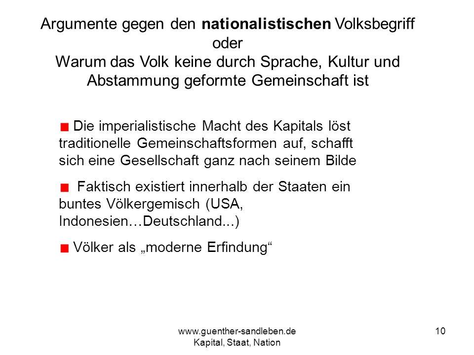 www.guenther-sandleben.de Kapital, Staat, Nation 10 Argumente gegen den nationalistischen Volksbegriff oder Warum das Volk keine durch Sprache, Kultur