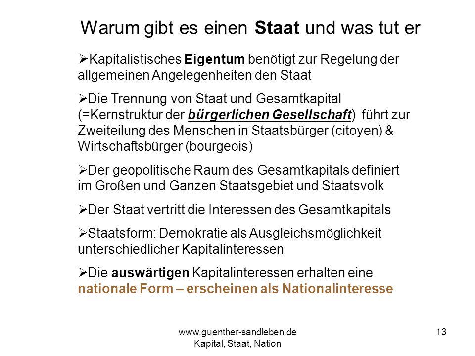 www.guenther-sandleben.de Kapital, Staat, Nation 13 Warum gibt es einen Staat und was tut er Kapitalistisches Eigentum benötigt zur Regelung der allge