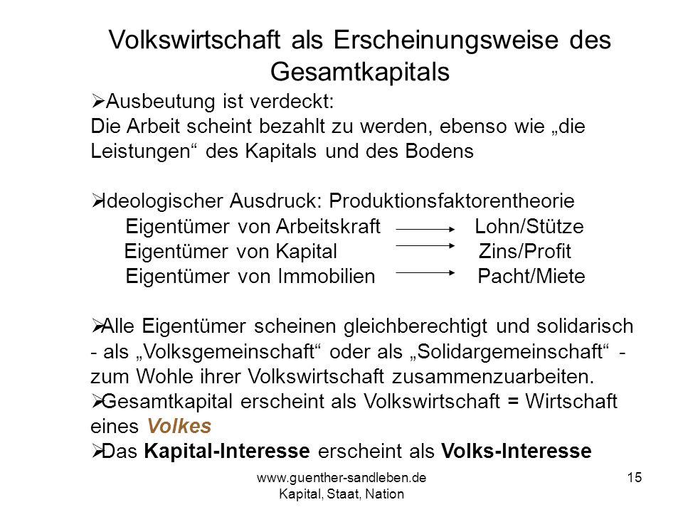 www.guenther-sandleben.de Kapital, Staat, Nation 15 Volkswirtschaft als Erscheinungsweise des Gesamtkapitals Ausbeutung ist verdeckt: Die Arbeit schei