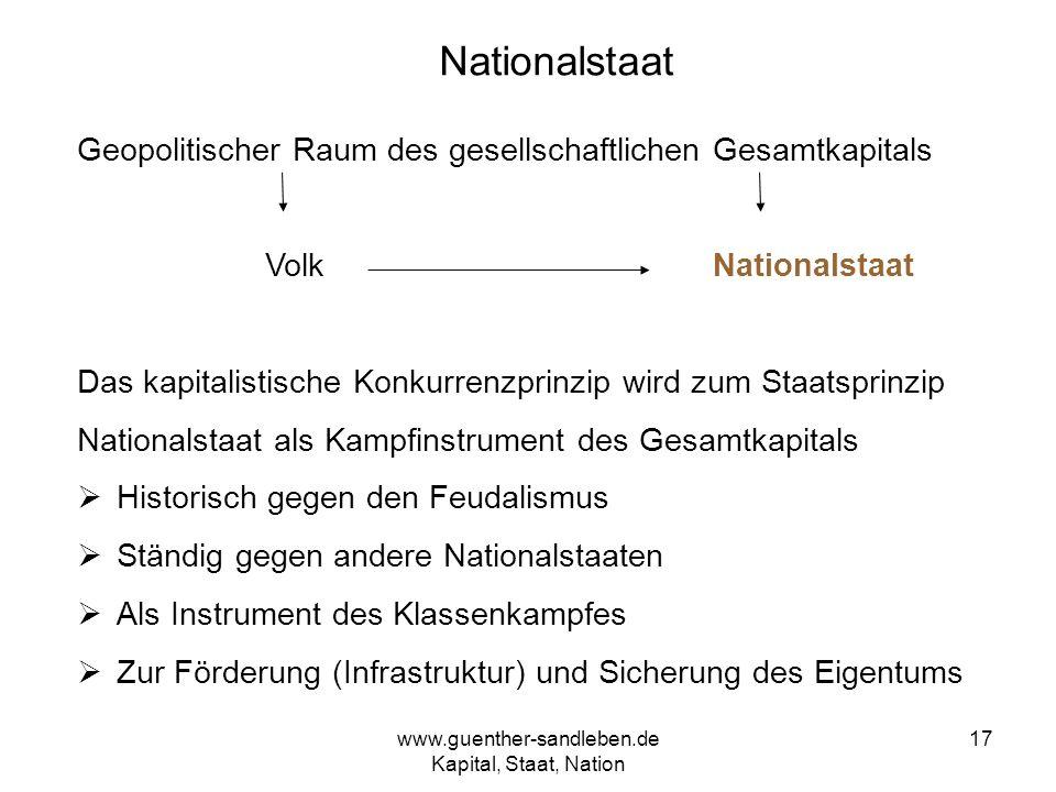 www.guenther-sandleben.de Kapital, Staat, Nation 17 Nationalstaat Geopolitischer Raum des gesellschaftlichen Gesamtkapitals Volk Nationalstaat Das kap