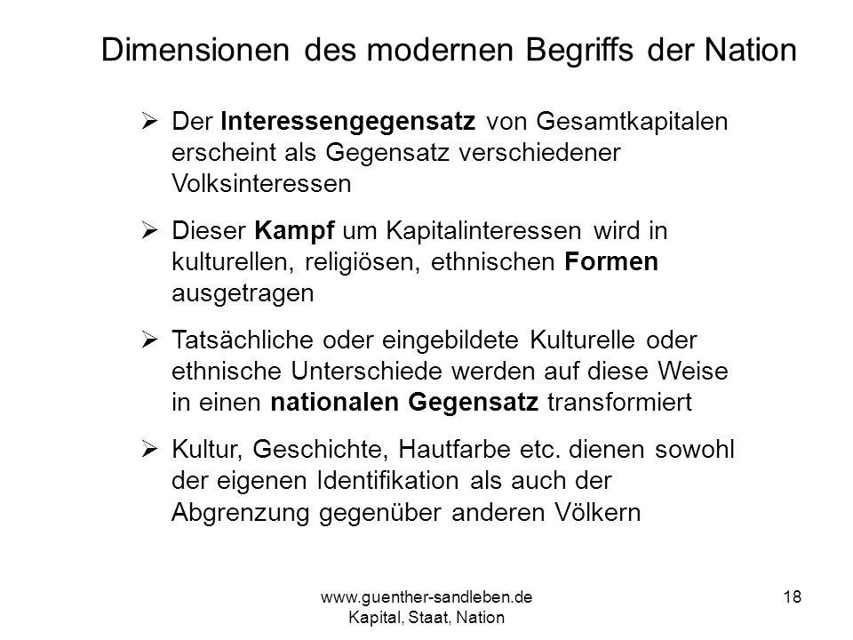 www.guenther-sandleben.de Kapital, Staat, Nation 18 Dimensionen des modernen Begriffs der Nation Der Interessengegensatz von Gesamtkapitalen erscheint