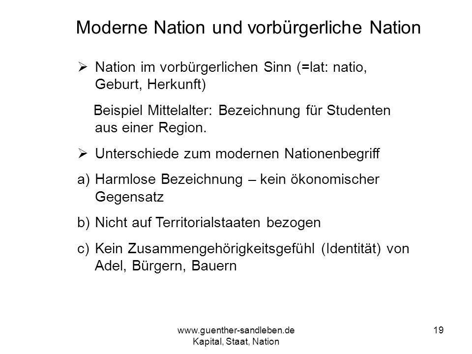 www.guenther-sandleben.de Kapital, Staat, Nation 19 Moderne Nation und vorbürgerliche Nation Nation im vorbürgerlichen Sinn (=lat: natio, Geburt, Herk