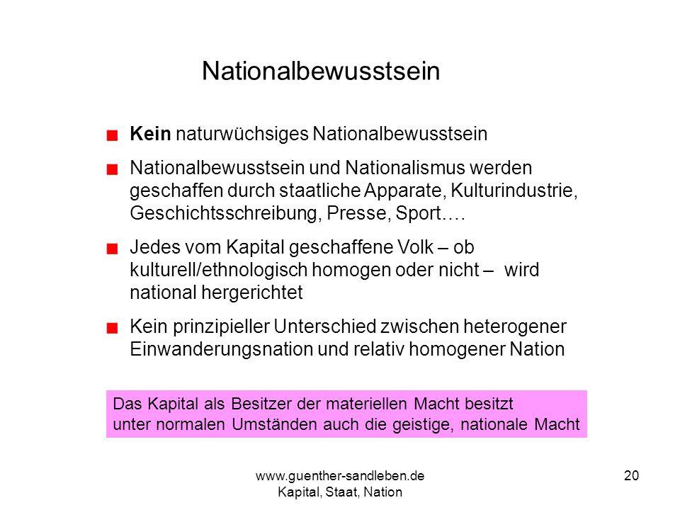 www.guenther-sandleben.de Kapital, Staat, Nation 20 Nationalbewusstsein Kein naturwüchsiges Nationalbewusstsein Nationalbewusstsein und Nationalismus