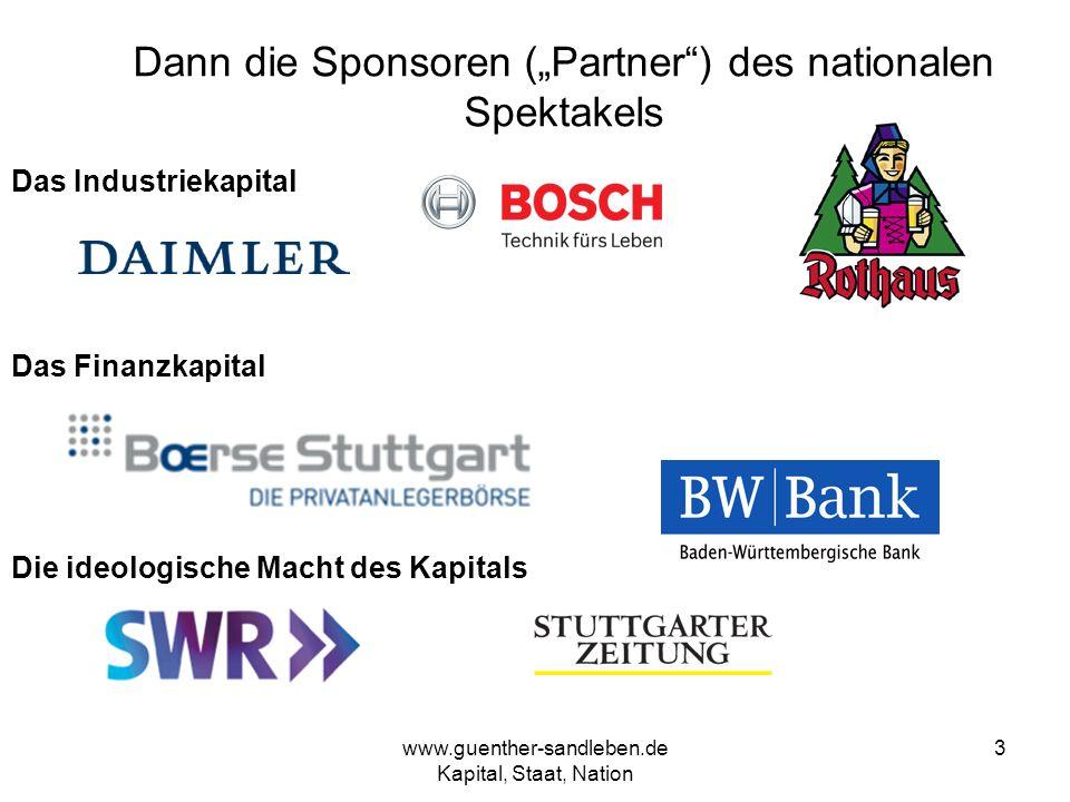 www.guenther-sandleben.de Kapital, Staat, Nation 3 Dann die Sponsoren (Partner) des nationalen Spektakels Das Industriekapital Das Finanzkapital Die i