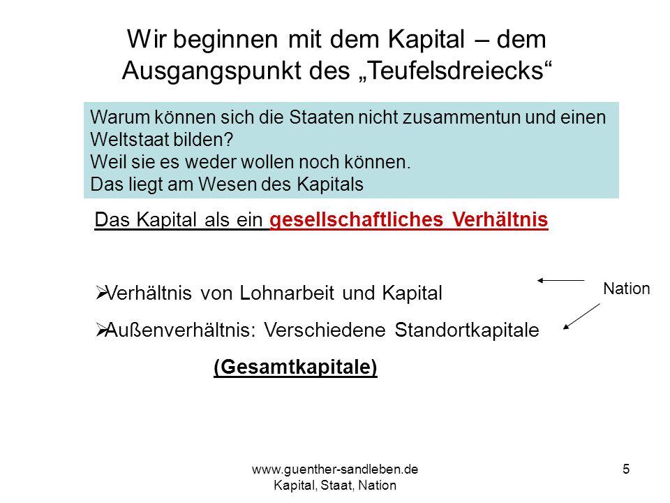 www.guenther-sandleben.de Kapital, Staat, Nation 5 Wir beginnen mit dem Kapital – dem Ausgangspunkt des Teufelsdreiecks Das Kapital als ein gesellscha