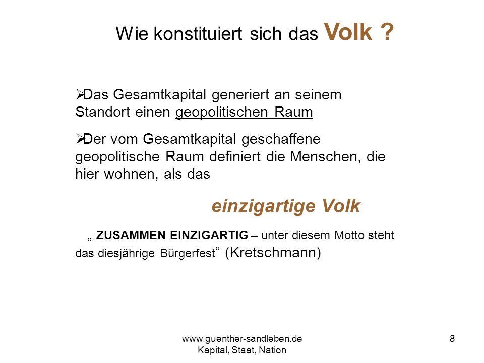 www.guenther-sandleben.de Kapital, Staat, Nation 9 Zwei Thesen zum Volk These 1: Das Gesamtkapital schafft innerhalb seines geopolitischen Raums das moderne Volk.