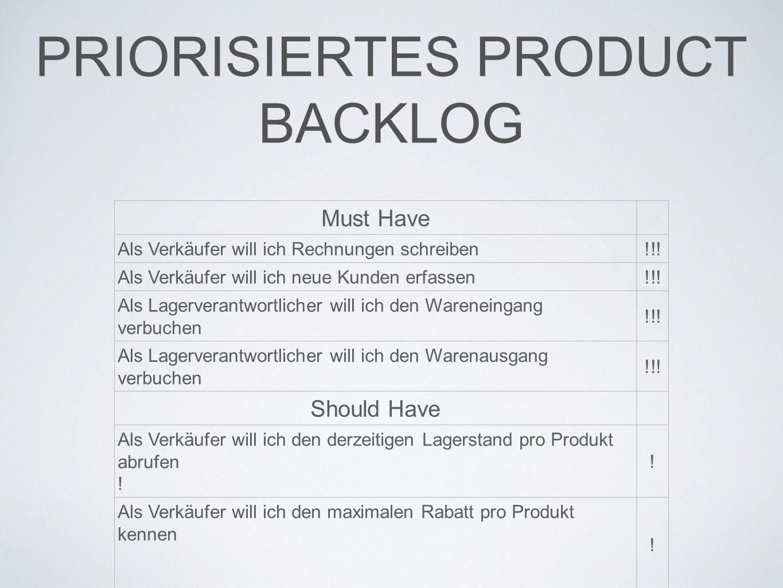 PRIORISIERTES PRODUCT BACKLOG Must Have Als Verkäufer will ich Rechnungen schreiben!!.