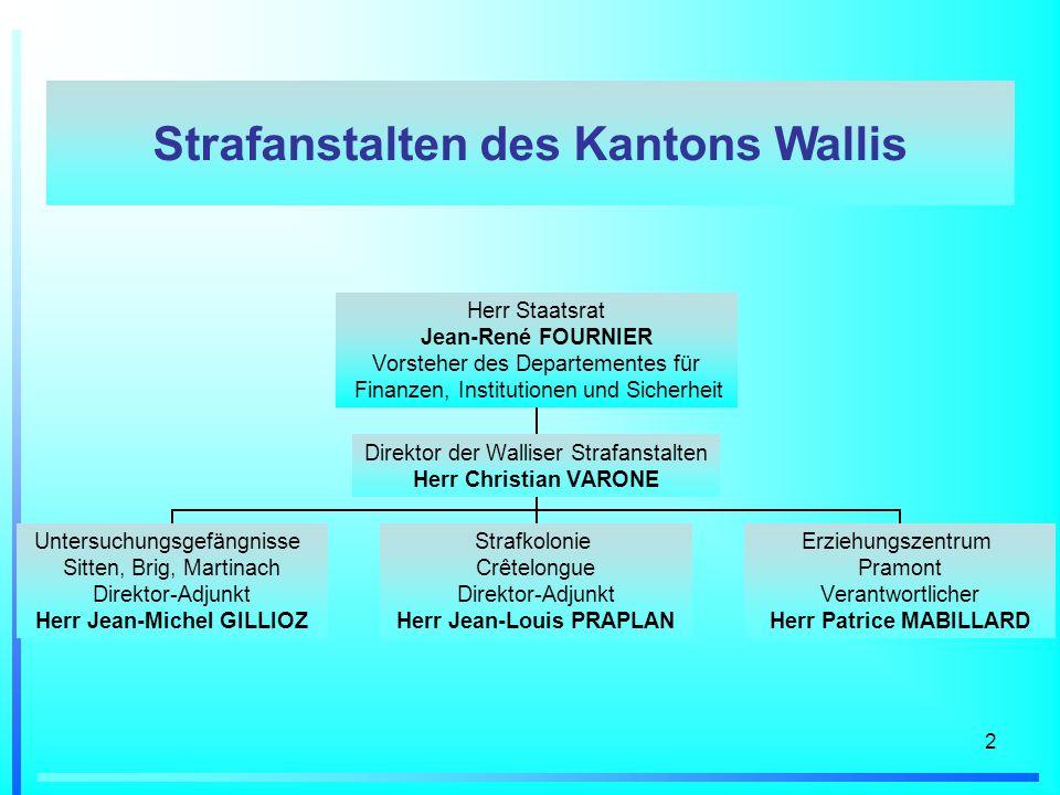 2 Herr Staatsrat Jean-René FOURNIER Vorsteher des Departementes für Finanzen, Institutionen und Sicherheit Direktor der Walliser Strafanstalten Herr C