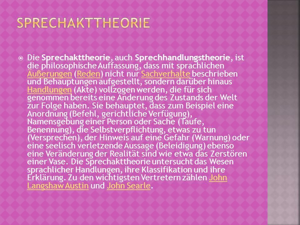 Die Sprechakttheorie, auch Sprechhandlungstheorie, ist die philosophische Auffassung, dass mit sprachlichen Äußerungen (Reden) nicht nur Sachverhalte