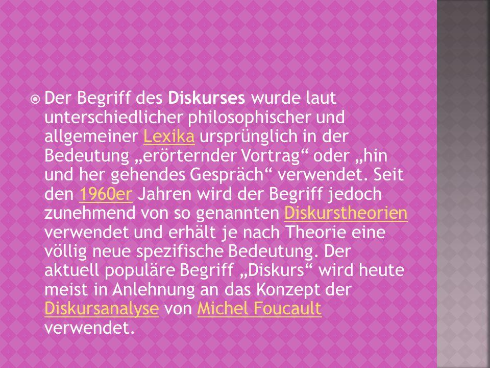 Der Begriff des Diskurses wurde laut unterschiedlicher philosophischer und allgemeiner Lexika ursprünglich in der Bedeutung erörternder Vortrag oder h