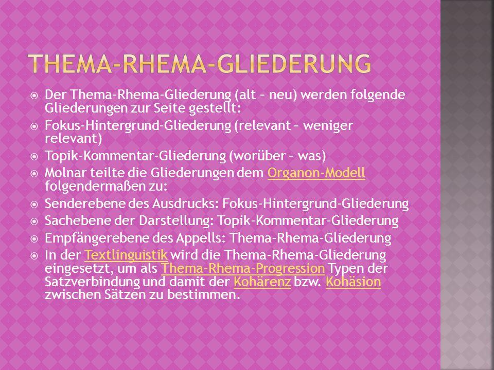 Der Thema-Rhema-Gliederung (alt – neu) werden folgende Gliederungen zur Seite gestellt: Fokus-Hintergrund-Gliederung (relevant – weniger relevant) Top