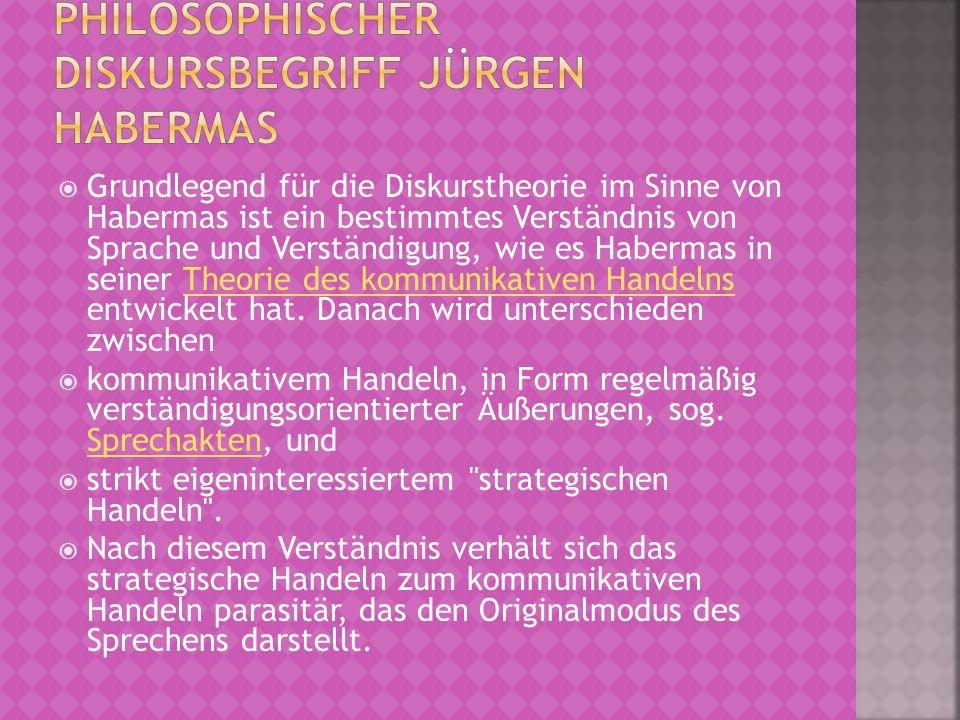 Jürgen Habermas bezeichnet in seiner Theorie des kommunikativen Handelns den Diskurs als Prozess einer Aushandlung von individuellen Geltungsansprüchen der einzelnen Akteure (bei Habermas auch als Aktoren bezeichnet).