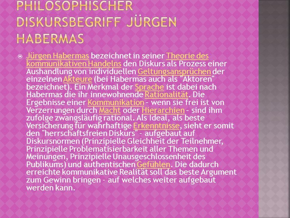 Jürgen Habermas bezeichnet in seiner Theorie des kommunikativen Handelns den Diskurs als Prozess einer Aushandlung von individuellen Geltungsansprüche