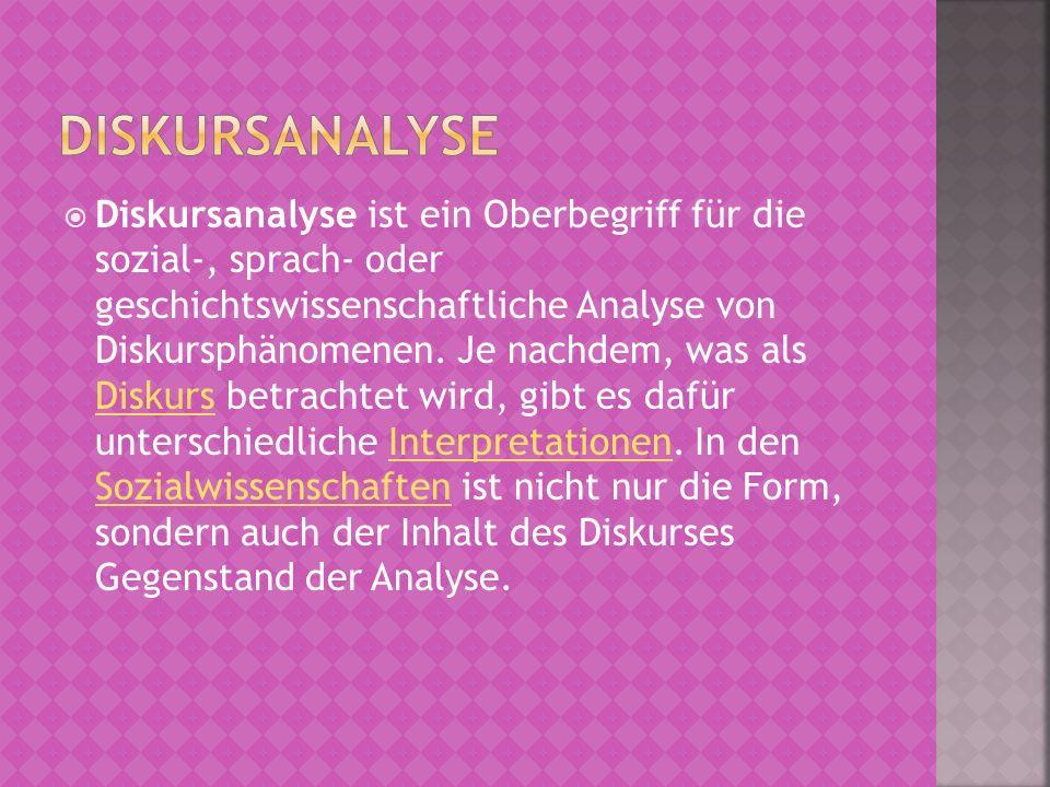 Diskursanalyse ist ein Oberbegriff für die sozial-, sprach- oder geschichtswissenschaftliche Analyse von Diskursphänomenen. Je nachdem, was als Diskur
