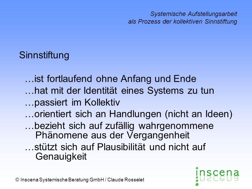 © Inscena Systemische Beratung GmbH / Claude Rosselet Systemische Aufstellungsarbeit als Prozess der kollektiven Sinnstiftung Sinnstiftung …ist fortla