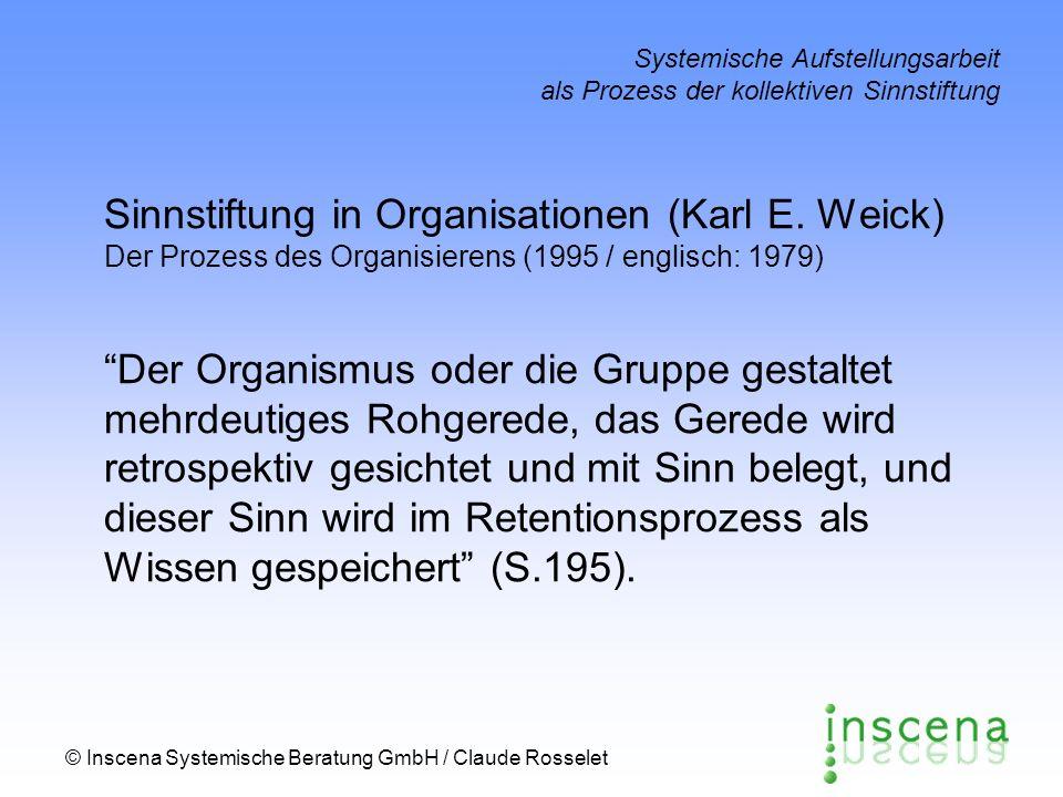 © Inscena Systemische Beratung GmbH / Claude Rosselet Systemische Aufstellungsarbeit als Prozess der kollektiven Sinnstiftung Oekologischer Wandel GestaltungSelektion Retention Sinnstiftung in Organisationen Sagen Hören, was [ich] sage Wissen, was [ich] gesagt habe Irritation