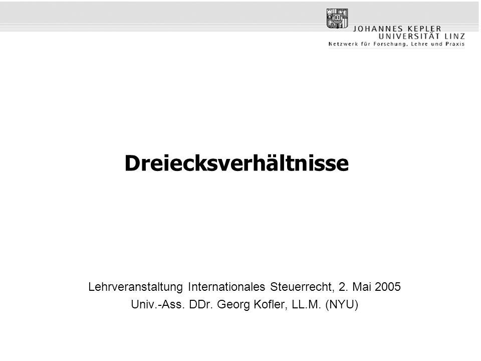 Übersicht Triangular Cases (Dreiecksverhältnisse) –Doppelbesteuerungsabkommen Regelung bilateraler Verhältnisse –OECD, Triangular Cases (1992) Art 24 Tz 49 bis 54 OECD-MK –Wesentliche Fallgruppen von Dreiecksverhältnissen Betriebsstätten (BS) –als Empfänger von Dividenden, Zinsen und Lizenzgebühren –als Zahler von Zinsen Doppelt ansässige Gesellschaften (DRC) –als Zahler von Dividenden, Zinsen und Lizenzgebühren –als Empfänger von Dividenden, Zinsen und Lizenzgebühren –als Arbeitgeber