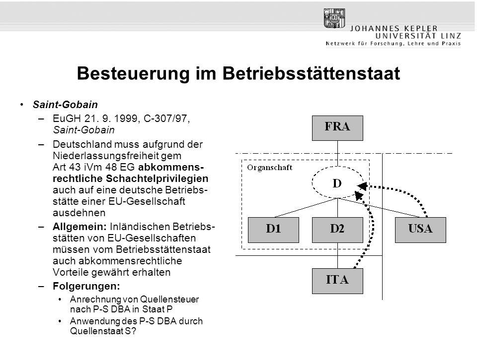 Besteuerung im Betriebsstättenstaat Saint-Gobain –EuGH 21. 9. 1999, C-307/97, Saint-Gobain –Deutschland muss aufgrund der Niederlassungsfreiheit gem A