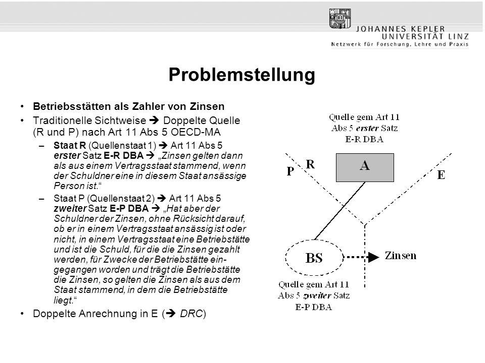 Problemstellung Betriebsstätten als Zahler von Zinsen Traditionelle Sichtweise Doppelte Quelle (R und P) nach Art 11 Abs 5 OECD-MA –Staat R (Quellenst
