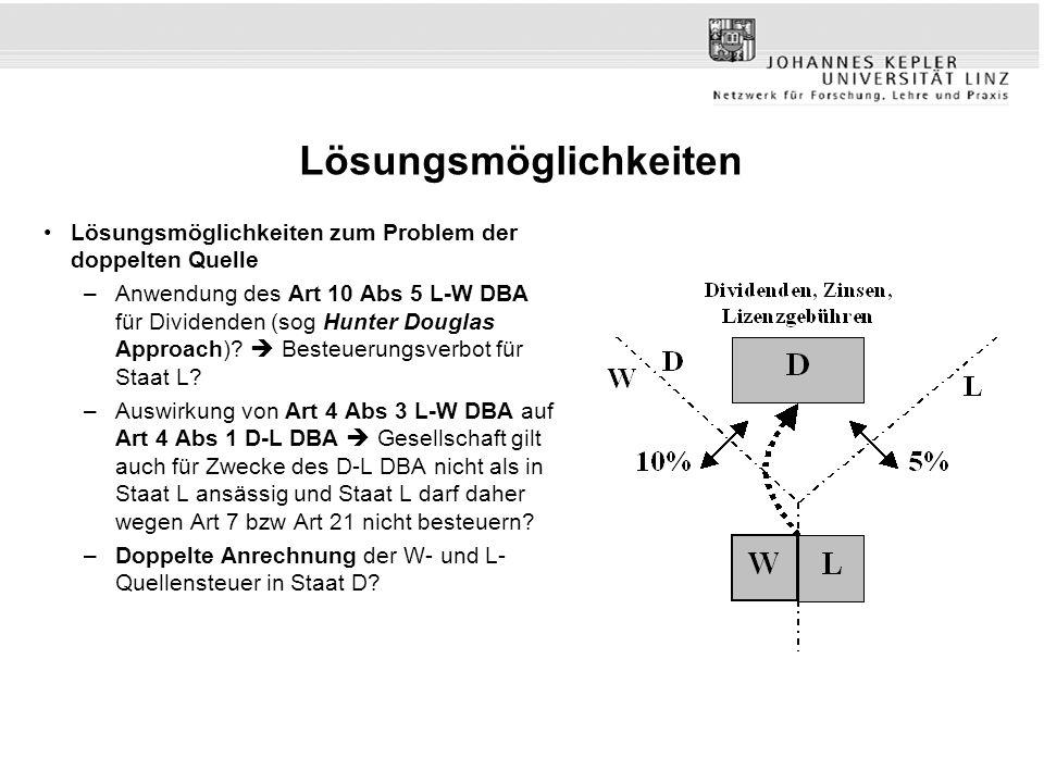 Lösungsmöglichkeiten Lösungsmöglichkeiten zum Problem der doppelten Quelle –Anwendung des Art 10 Abs 5 L-W DBA für Dividenden (sog Hunter Douglas Approach).