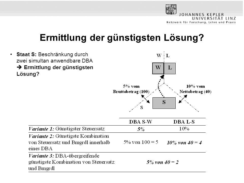 Ermittlung der günstigsten Lösung? Staat S: Beschränkung durch zwei simultan anwendbare DBA Ermittlung der günstigsten Lösung?
