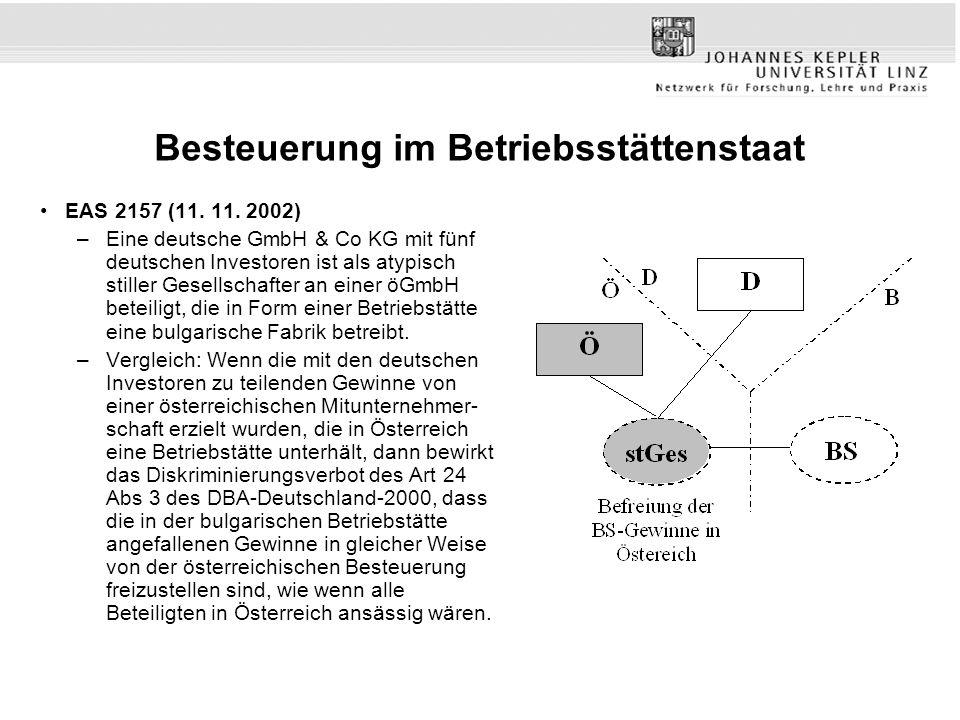 Problemstellung DRCs als Zahler von Dividenden, Zinsen und Lizenzgebühren Traditionelle Sichtweise –Doppelte Quelle (W und L) –Tie-Breaker des L-W DBA wirkt sich nicht auf D-W DBA und D-L DBA aus –Art 4 Abs 1 OECD-MA Im Sinne dieses Abkommens (For the purposes of this convention) L-W DBA –Art 4 Abs 3 OECD-MA: Ist nach Absatz 1 eine andere als eine natürliche Person in beiden Vertragsstaaten ansässig, so gilt sie als nur in dem Staat ansässig, in dem sich der Ort ihrer tatsächlichen Geschäftsleitung befindet.