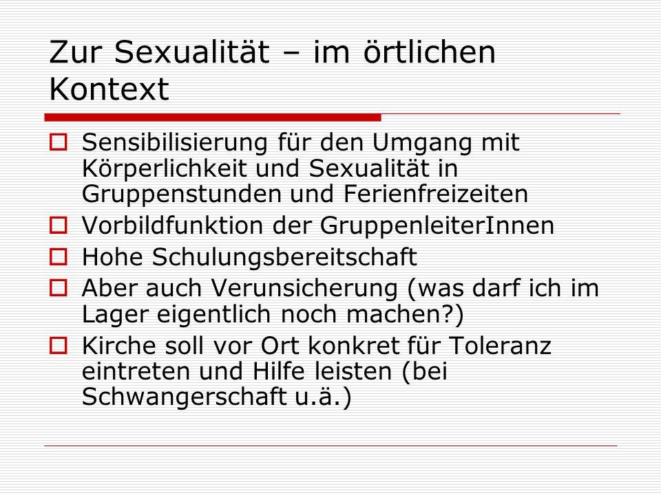Zur Sexualität – im örtlichen Kontext Sensibilisierung für den Umgang mit Körperlichkeit und Sexualität in Gruppenstunden und Ferienfreizeiten Vorbild