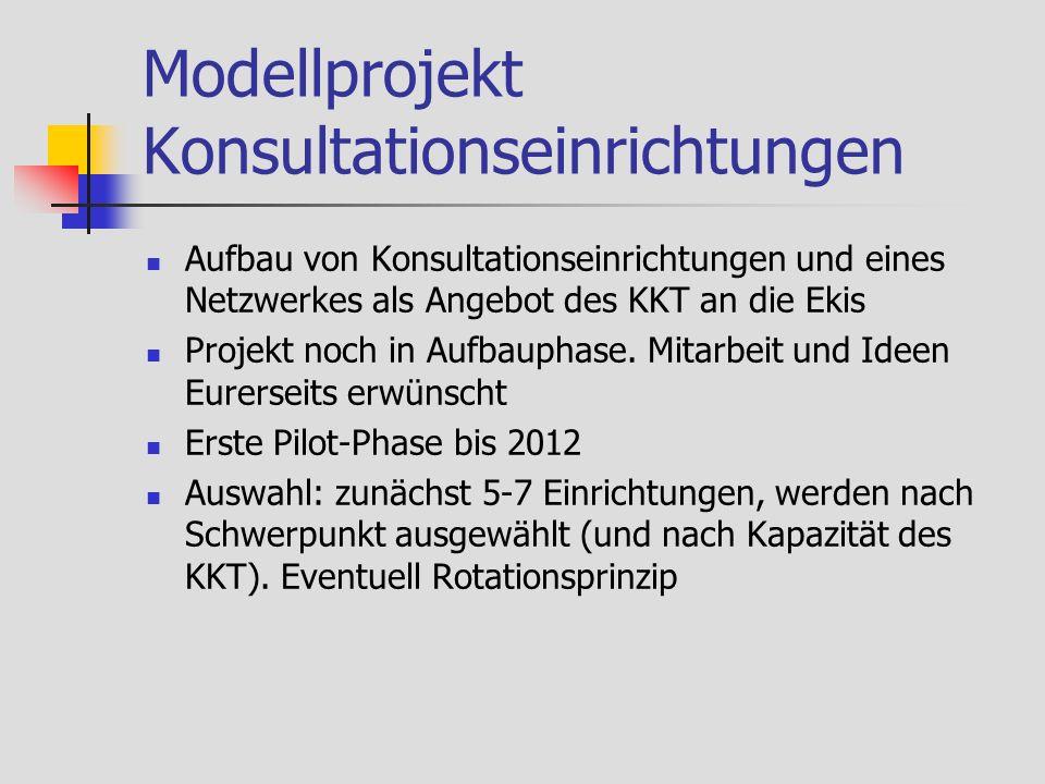 Modellprojekt Konsultationseinrichtungen Aufbau von Konsultationseinrichtungen und eines Netzwerkes als Angebot des KKT an die Ekis Projekt noch in Aufbauphase.