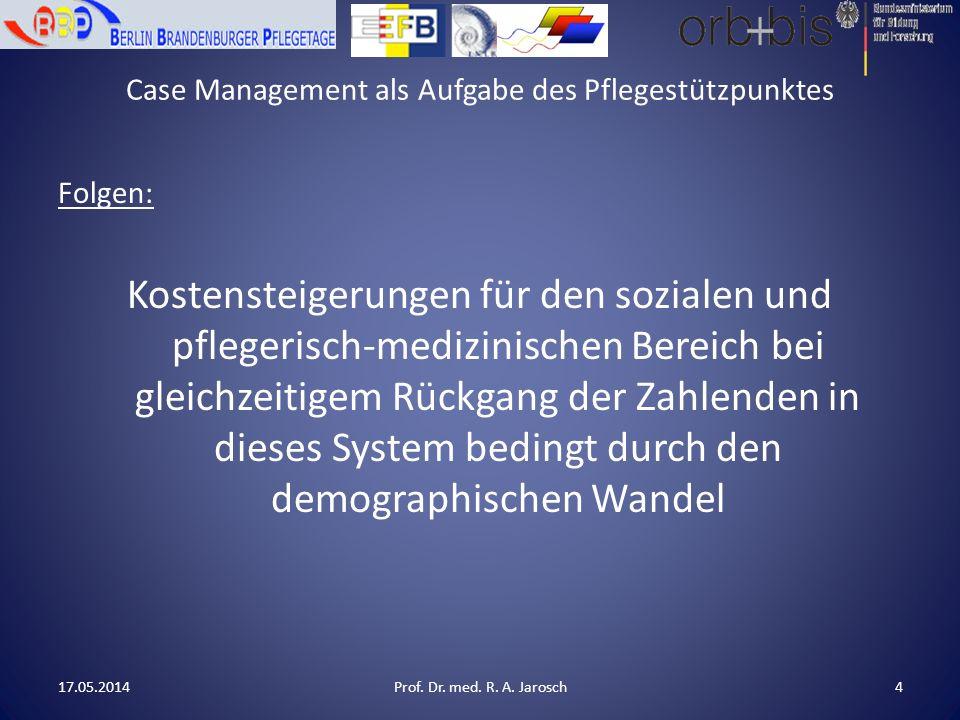 Case Management als Aufgabe des Pflegestützpunktes Folgen: Kostensteigerungen für den sozialen und pflegerisch-medizinischen Bereich bei gleichzeitigem Rückgang der Zahlenden in dieses System bedingt durch den demographischen Wandel 17.05.2014Prof.