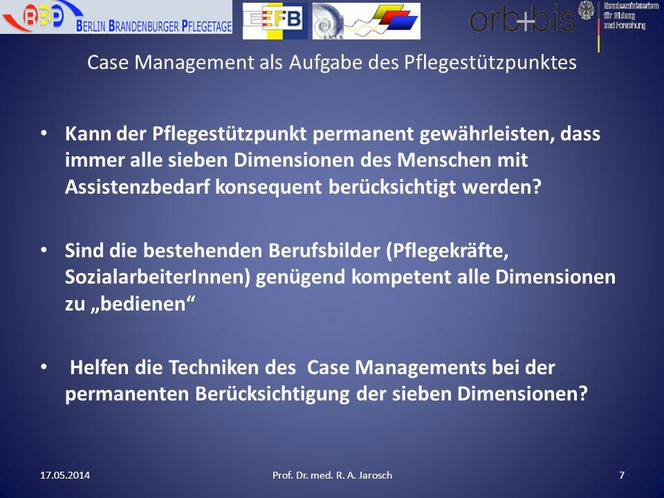Case Management als Aufgabe des Pflegestützpunktes Es fehlen nicht die Techniken des Case Management, denn diese bringen die Berufserfahrenen in der Regel selbst schon mit.